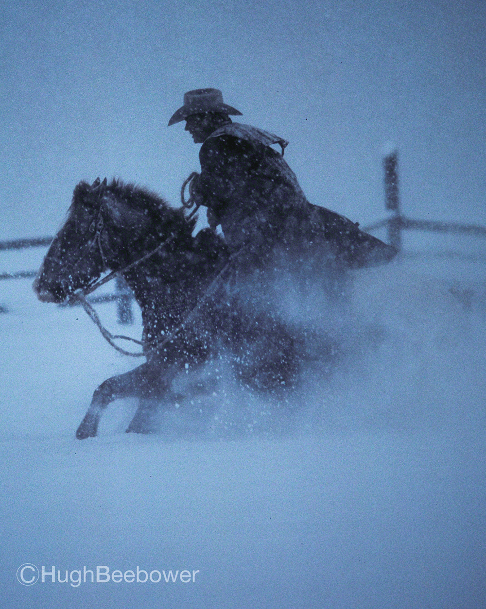 Cowboy and Horse in the Snow | Beebower Productions